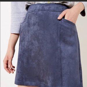 Ann Taylor Loft blue faux suede skirt